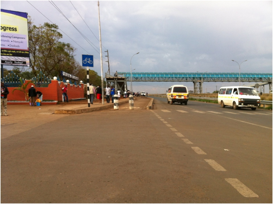 A new highway in Nairobi, required by the funders to include facilities for bicycling and walking.