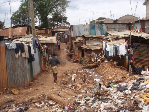 A streetscape view in Kibera.