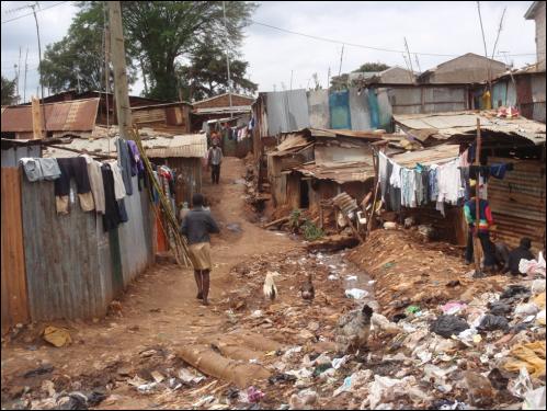 A streetscape view in Kibera.